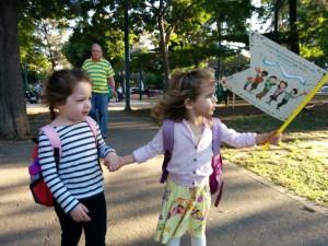 Granddaughter Tamar and friend, and Simchat Torah flag, Tel Aviv