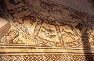 Ancient synagogue mosaic, Tiberias. See winter, depicted as a woman holding an overflowing jar of water, in the left-hand corner. wwwgoisrael.com