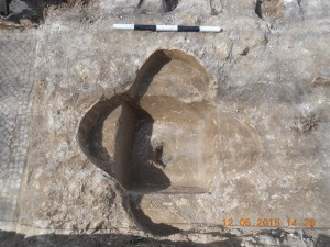 Baptistery found during highway work near Abu Ghosh. Photo: Assaf Peretz, courtesy of the IAA.