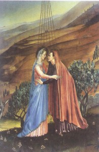 Mary and Elizabeth, from a painting in the Church of the VIsitation, Ein Karem.