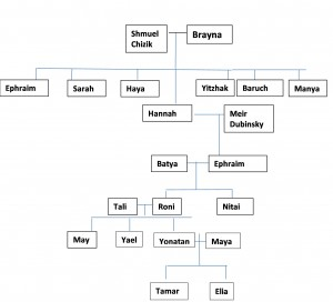 A partial family tree, showing granddaughters Tamar and Elia's direct connection to Hannah Chizik and her forbears.