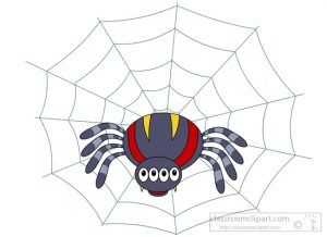 multi eyed spider on web clipart