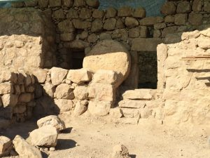 "At Arugot Fort, near Ein Gedi, a fourth-century AD tower dating to the preserved to a height of 18 ft (and probably originally three stories high, with thick with thick walls and a rolling stone to seal the door, was probably a balsam factory. It served as inspiration for scenes in ""The Scroll."" (courtesy of Dr. Tsvika Tsuk, Israel Nature and Parks Authority)"
