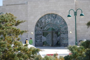 Our synagogue; the doors contain the symbols of the Twelve Tribes of Israel