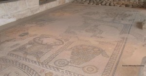 Depiction of a basket of First Fruits, Zippori Synagogue mosaic, 5th century