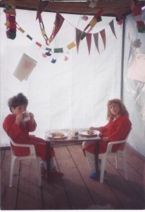 Maya and Nili, now a mother of two and a mother-to-be respectively, having breakfast in our sukkah.