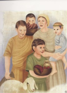 An ancient family on Sukkot pilgrimage to Jerusalem, from my book Teach it to Your Children: How Kids Lived in Bible Days (drawing by Mira Hass)