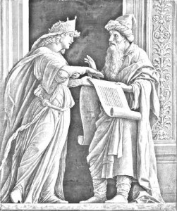 Hulda the Prophetess explaining the scroll to Josiah, rendering of a painting by Mantegna.