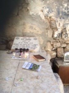 """The tombstone with the words """"Mattathias the high priest"""" and a dedication, in the Sheikh Garbawi tomb structure"""