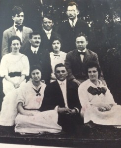 Pioneers in training. Top row, middle, my granddaughter's great-great uncle Meir Dubinsky, Hannah's husband. Bottom right, seated, Golda Meir.