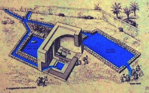Artist's rendering of what may be a balsam factory at Enot Tsukim on the Dead Sea (courtesy of Dr. Tsvika Tsuk, Israel Nature and Parks Authority)
